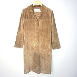Alfred Sung Geniune Leather Long Brown Coat Small
